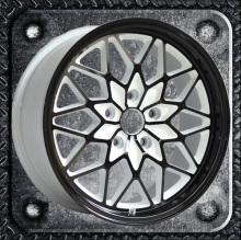 Black painted white inner groove alloy wheel