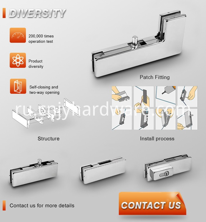 Speed Adjust Glass Door Single Spring Floor Hinge