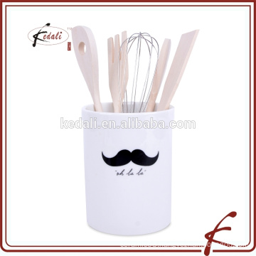 moustache design ceramic utensil holder
