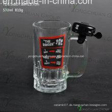 500ml Glas Bierkrug mit Bell Nice Shape