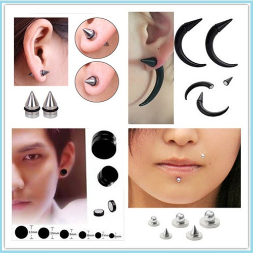 No Piercing Bling Round CZ Gem Magnetic Ear Stud