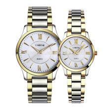 Mode-Liebhaber-Paar-Luxusuhr-voller Edelstahl-Gold passt für Männer-Frauen-Geschenke auf