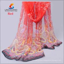 LINGSHANG new floral women digital printing scarf silk feel neck mask headband wrap dress design chiffon scarves