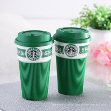 Taza de viaje de café de cerámica Starbuck con agarre y tapa de silicio