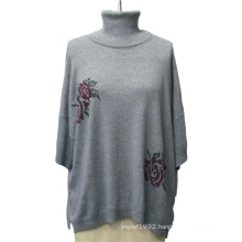 Lady Jacquard Turtleneck Batwing Sleeve Loose Knitwear