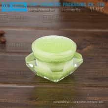 YJ-V15 15g lisse en plastique dur bonne main sentiment diamant vert matière acrylique pot