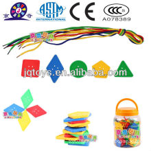 Plástico botão educativo threading brinquedo