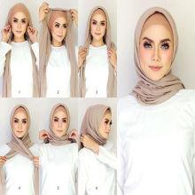 2017 мода сплошной цвет женщин обычный пузырь шифон мусульманский хиджаб шарф Дубай оптом