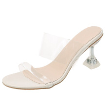 2021 New Product Women Sandals PVC Jelly Crystal Heel heels Transparent PVC Sexy Clear summer shoes for girls