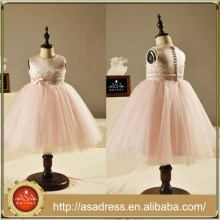 FL1005 illusion Pink Flower Girl Dresses Belt Girls Party Dresses Ankle Length Back With Bottons Little Bow For Weddings