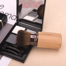 Single wood handle make up brush set