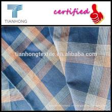 100% hilo de algodón teñido de tela / azul telas tela la últimas camisa a cuadros marrón