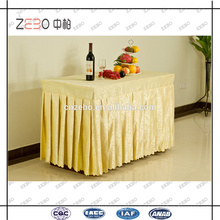 Hot Selling Jacquard Fabric Cheap Pleated Style Party Polyester Table Skirt