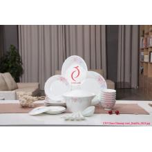 Weiße Keramik-Dinner-Platte, Decaled Keramik-Teller Platte Made in Jingdezhen