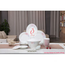 White Ceramic Dinner Plate, Decaled Ceramic Dishes Plate Made in Jingdezhen