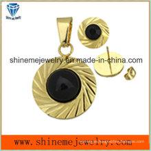 Shineme conjuntos de joyería de moda oro plateado orejera con colgante con piedra negra (ERS6999)
