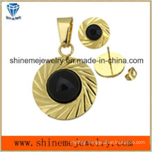 Shineme Jewelry Sets Fashion Gold Plated Ear Stud with Pendant with Black Stone (ERS6999)