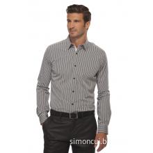 Men's Business Long Sleeve Striped Dress Shirt