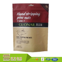 High Barrier Food Grade Dried Food Packaging Custom Stand Up Zipper Kraft Paper Bags For Nuts