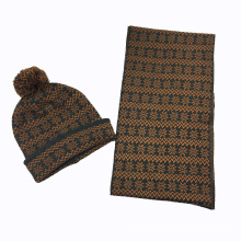 Mens Unisex Winter Warm Snow Printing Scarf Beanie Set Nitted Scarf (SK178S)