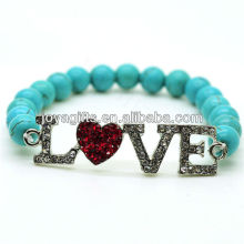 Turquoise 8MM Round Beads Stretch Gemstone Bracelet with Diamante Alloy Love Piece