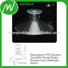 PVC Material Micro 42mm Aspiración Copa con tachuelas de pulgar