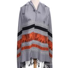Moda luxo jacquard pashmina xale para mulheres inverno cachecol