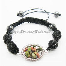 Fashion 10MM black Crystal balls woven bracelet with lucky tree