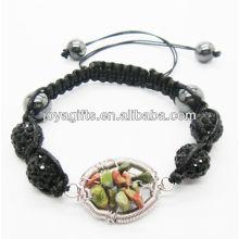 Мода 10мм черный кристалл шарики тканые браслет с счастливым деревом