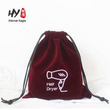 Hot vente sèche-cheveux velours en vrac impression sacs à cordon