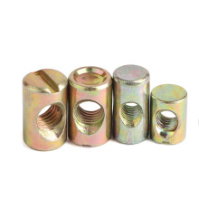 M10 Carbon Steel Yellow Zinc Plated Flat Head Slotted Barrel Nut