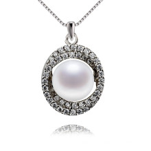 Snh 9mm AAA Grade Nice Button Shape White Pearl Pendant Jewelry