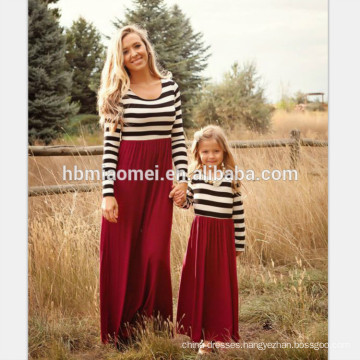 2017 New fashion long sleeve mother and daughter dress long design striped mommy and me matching dress