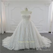 Vestido de noiva nupcial do projeto mais recente laço sem alças