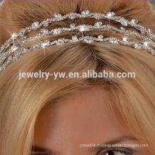 Vente en gros de mode métal argenté bande de bande de cristal tira pour femme