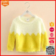 Las últimas mangas largas de la manera barato amarillo 2 suéteres de la cachemira de la capa