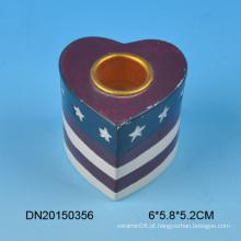 Alta qualidade coração design cerâmica candle holder