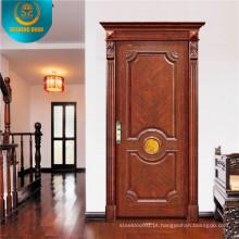 Porta de madeira interior estilo europeu com escultura (DS-8011)