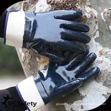 Тяжелая работа, широкая манжета, открытые рабочие перчатки с нитриловым покрытием / масляные перчатки