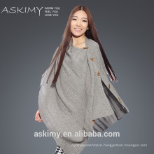 2015 fashion good quality knitted poncho cashmere