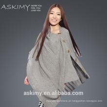 2015 moda de boa qualidade de poncho de cashmere poncho