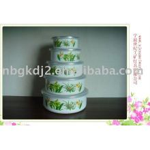 5pcs enamel bowl set
