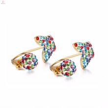 Colorful Crystal Funky Moon And Star Stud Earrings For Girls