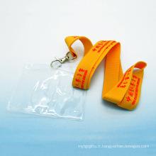 Support d'insigne de carte de travail en plastique personnalisé de longe de polyester