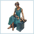 Garden Cozy Statue Life Size Bronze Mother and Boy Statue