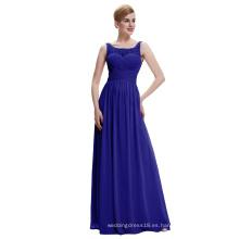 Starzz 2016 barato simple sin mangas V espalda gasa vestido de noche azul real ST000061-4