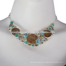 Medagaskar Ammonit, Idocrase, Prehnite, Pyarit, Tibetische Türkis und 925 Sterling Silber Halskette