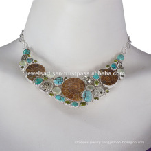 Medagaskar Ammonite, Idocrase, Prehnite, Pyarite, Tibetan Turquoise and 925 Sterling Silver Necklace
