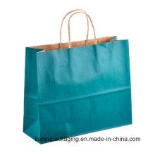 Grüner umweltfreundlicher Großhandelseinkaufen-Papier-Fördermaschine-Beutel mit Handgriff