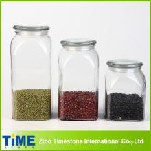 Glass Jar Set of Three with Glass Tap Lid